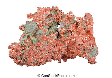Native Copper From Above Over White