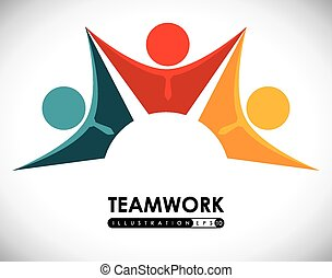 Teamwork design, vector illustration - Teamwork design over...