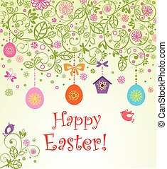 Easter card with hanging eggs, little birds and birdhouse