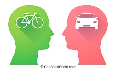 Head set with a bicycle and a car