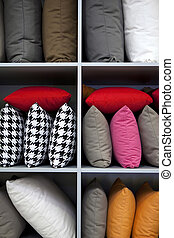 Cushions - Decorating with colorful cushions on wooden...