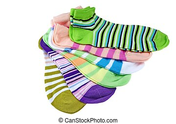 Many Striped Female Ankle Style Socks Isolated On White...