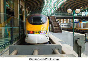 high speed train - tgv high speed train at Gare du Nord in...