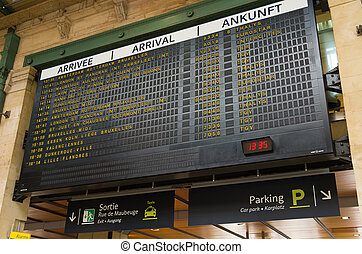 gare du nord, paris - departure board at the Gare du Nord,...