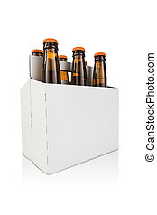 Six Pack of Beer Hero Angle - a six pack bottle of beer on...