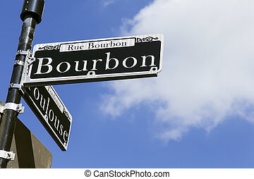 Bourbon Street Sign in New Orleans - Street sign for the...