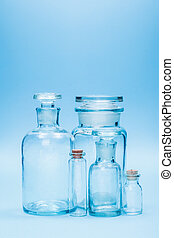 Clear empty glass reagent bottles