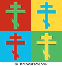Pop art religious orthodox cross symbol icons. Vector...