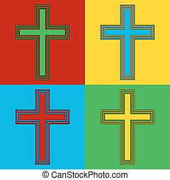 Pop art religious cross symbol icons Vector illustration