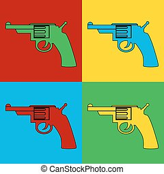 Pop art gun symbol icons.