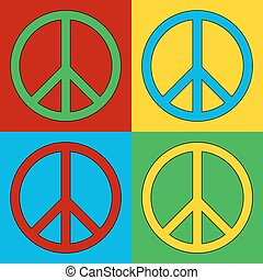 Pop art peace symbol icons Vector illustration