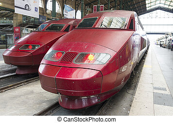 high speed train - Thalys high speed train at Gare du Nord...