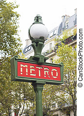 metro sign - red metro sign in Paris, France
