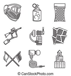 Black line icons vector collection of paintball accessory -...