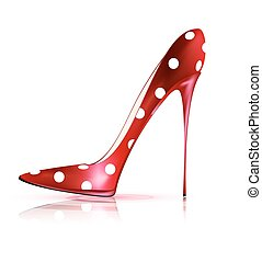 funny shoe - white background and the red ladys shoe