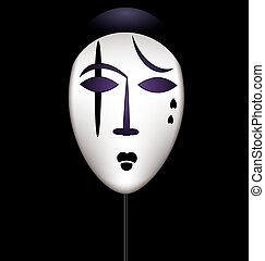 mask of a sad clown - black background and theatrical mask...