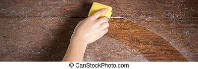 Soiled wooden parquet - Close-up of soiled wooden parquet...