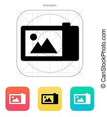 Digital camera icon. Vector illustration.