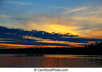 Dramatic sunset Northern Karelia, Russia - Charm of the...