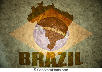 brazil vintage map - brazil map on a vintage brazilian flag...