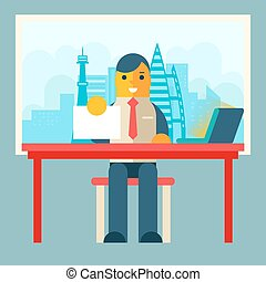 Businessman Sitting Table with Paper Contract Corm Sign...
