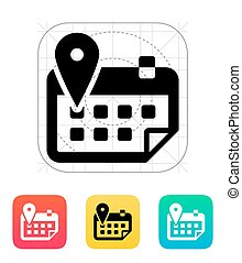 Calendar with location icon Vector illustration