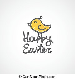 happy easter handwritten text with hand drawn bird on white...