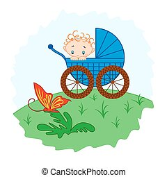 Baby boy from pram watching a butterfly, hand drawing vector...