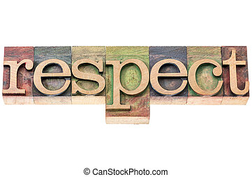 respeto, palabra, Tipografía, en, madera, tipo,