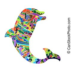 dolphin - abstract silhouette of dolphin
