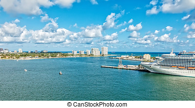 Ft. Lauderdale - Aerial view of Ft. Lauderdale and Port...