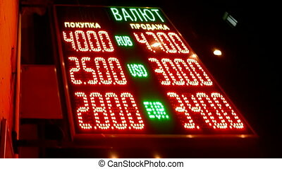currency exchange rate, red led - currency exchange rate on...