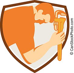 Plumber Bowing Monkey Wrench Shield Retro - Illustration of...