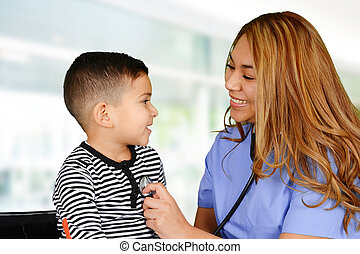 Nurse - Female nurse working at her office with a patient