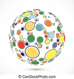 Globe consist of color circles Vector illustration