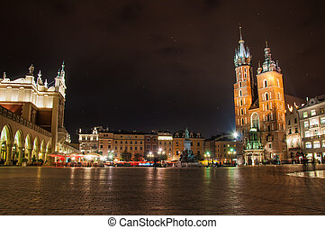 Krakow - Poland, Krakow. Market Square at night.