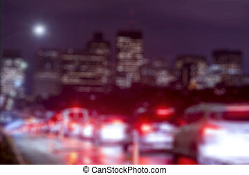 Abstract blurry background Traffic Lights City at Night