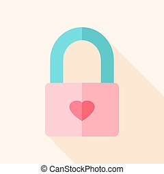 Padlock with heart. Flat stylized object with long shadow