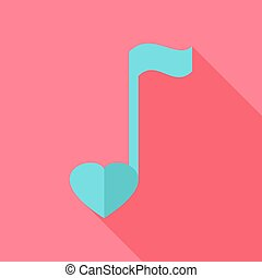Sheet music with heart. Flat stylized object with long...