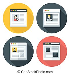 Web page flat circle icons set. Flat stylized icons set with...