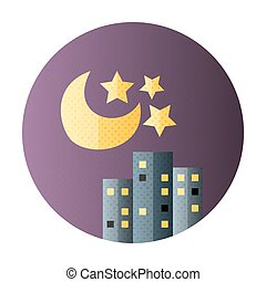 Urban city night life flat circle icon Flat icon with...