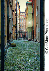 courtyard in the old town of Warsaw