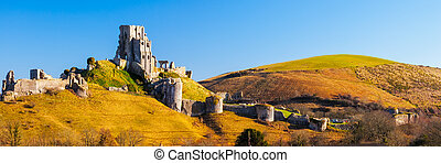 Corfe Castle Dorset England - Panoramic shot of Corfe Castle...