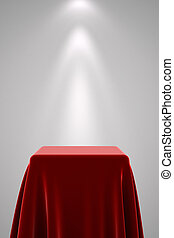 Pedestal with red silk and spot light - Presentation...