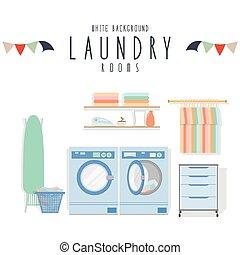 Laundry (White Background) - vector illustration of laundry...