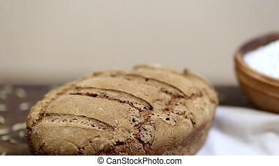 Organic sourdough rye bread - Freshly baked loaf of homemade...