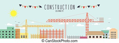Construction site in the city - vector illustration...