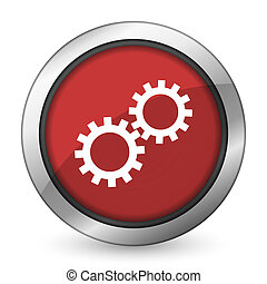 gears red icon options sign