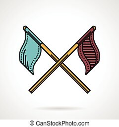 Paintball teams flags vector icon - Flat color vector icon...