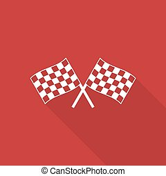 Two checkered flag with shadow - Two checkered flag with a...